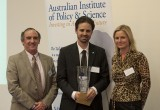 Dr matthew Hill receives award from Prof Jim McCluskey (L) and Dr Sarah Meachem (R)