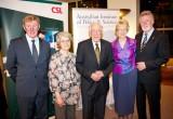 L-R: Prof Rick McLean, Chair AIPS; Mrs Margaret Clark;  Prof Grame Clark (2011 Medalist); Mrs Barbara Hopwood; Prof John Hopwood (2009 Medalist)      Photo: Arthur Mostead