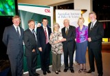 L-R: Prof Rick McLean, Chair AIPS; Dr Andrew Cuthbertson, Chief Scientific Office CSL; Hon Mark Butler MP, Minister for Mental Health and Ageing; Mrs Margaret Clark, Prof Graeme Clark, Mrs Barbara Hopwood, Prof John Hopwood  (2009 Medalist)      Photo: Arthur Mostead