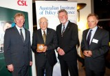 L-R: Prof Rick McLean, Chair AIPS; Prof Graeme Clark, 2011 Florey Medalist; Prof John Hopwood, 2009 Florey Medalist; Dr Andrew Cuthbertson, Chief Scientific Officer CSL      Photo: Arthur Mostead