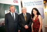 L-R: Prof Rick McLean, Chair AIPS; Prof Graeme Clark, 2011 Florey Medalist; Elektra Spathopoulos, AIPS Executive Director      Photo: Arthur Mostead